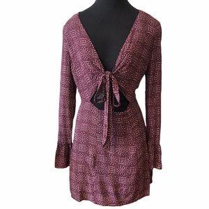 Cotton Candy LA Burgundy Low Cut Tie Front Dress
